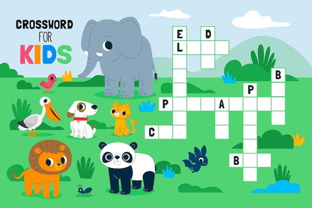 Crossword in english for children with animals