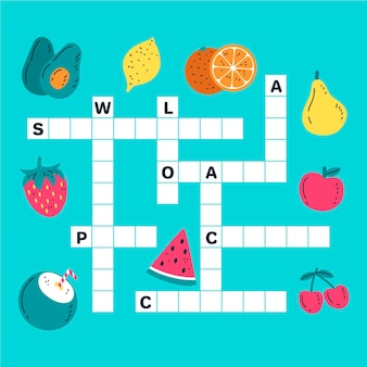Crossword in english for children with fruits