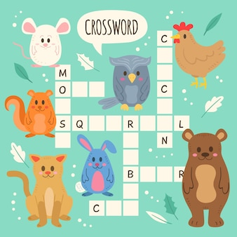 Crossword in english for kids with animals