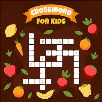 Crossword in english with fruits and vegetables
