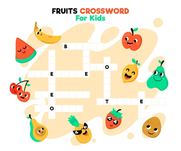 Crossword in english with fruits