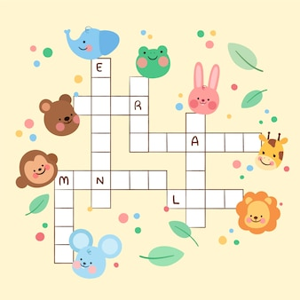 Crossword in english worksheet template with illustrations