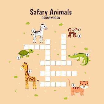 동물과 함께하는 어린이를위한 영어 크로스 워드 퍼즐