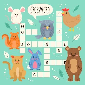 동물과 함께하는 아이들을위한 영어 크로스 워드 퍼즐
