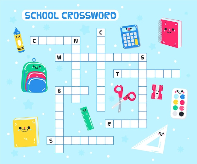 Кроссворд на английском языке для детей детского сада Бесплатные векторы