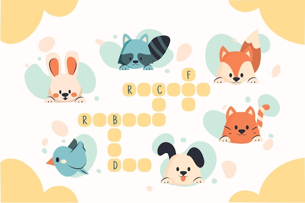 かわいい動物と英語のクロスワード