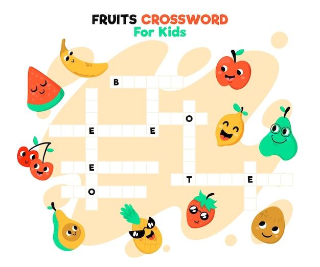 과일과 함께 영어 크로스 워드 퍼즐