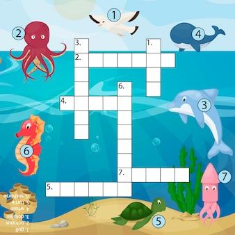 바다 수중 바다 물고기와 동물 논리 워크 시트 다채로운 인쇄 그림의 크로스 워드 퍼즐 아이 잡지 책 퍼즐 게임.
