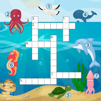 Crossword kids magazine book puzzle game of sea underwater ocean fish and animals logical worksheet colorful printable   illustration.