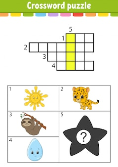 Crossword puzzle. education developing worksheet. activity page for study english. with color pictures. game for children. isolated vector illustration. funny character. cartoon style.