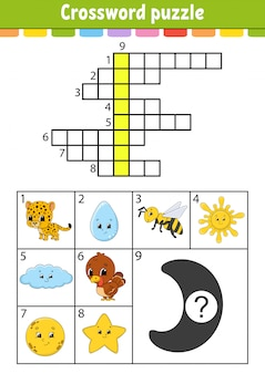 Crossword puzzle. education developing worksheet. activity page for study english. with color pictures.