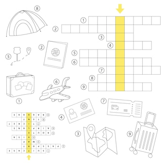 Игра-кроссворд. рабочий лист для детей дошкольного возраста. учите английские слова. векторные иллюстрации шаржа.