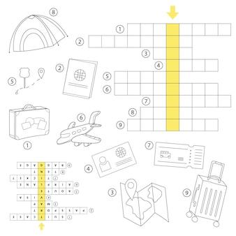 Crossword puzzle game for preschool kids activity worksheet. study english words. vector cartoon illustration.