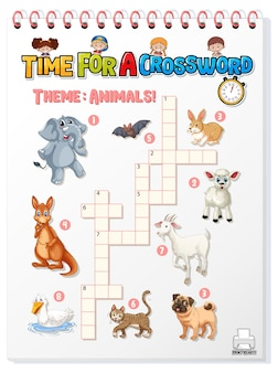 Crossword puzzle game template about animals