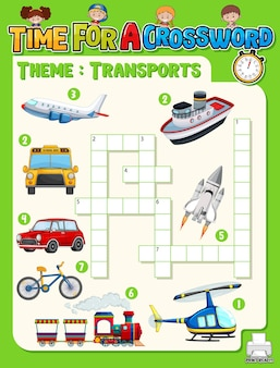 Crossword puzzle game template about transportation