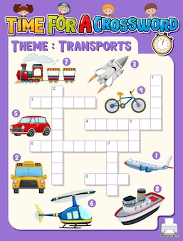 Crossword puzzle game template about transportation Free Vector