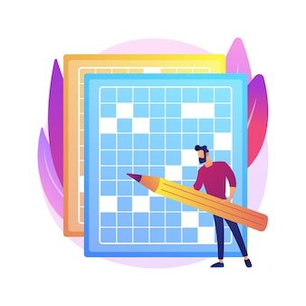 Do a crossword and sudoku abstract concept  illustration. stay home games and puzzles, keep your brain in shape, self-isolation time spending, quarantine leasure activity .