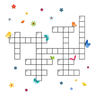 Crossword template with butterflies