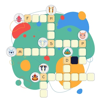 Crossword with different words in english for animals