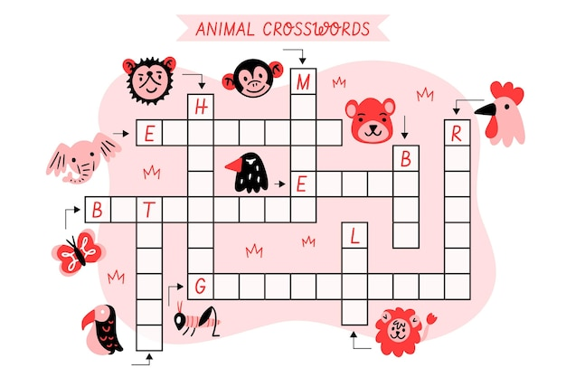 Cruciverba con parole inglesi per animali Vettore gratuito