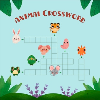 Crossword with english words for cute animals Free Vector