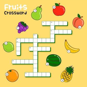 과일에 대한 영어 단어와 크로스 워드 퍼즐