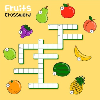 Crossword with english words for fruits