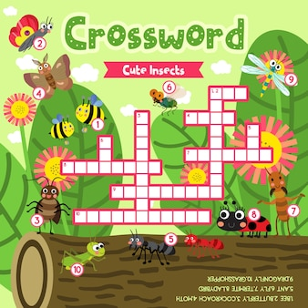 Crosswords puzzle game of cute bug insect animals