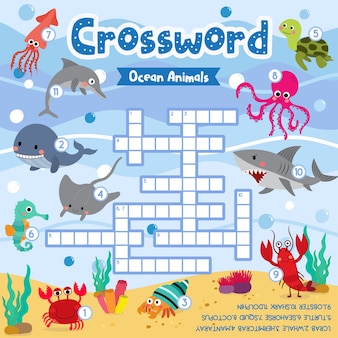 Crosswords puzzle game of ocean animals