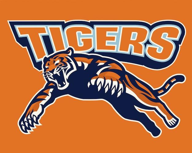 Crouching tiger in sport mascot set
