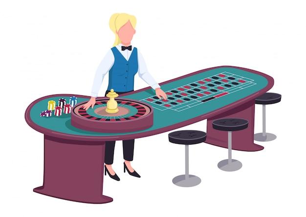 Croupierのフラットカラーの顔のないキャラクター。ルーレットのテーブルの近くの女性のディーラー。ホイールをスピンしてベットする準備ができている人。ギャンブルカウンター分離漫画イラストの後ろに制服を着た女性