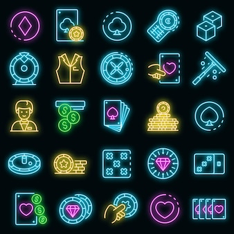 Croupier icons set. outline set of croupier vector icons neon color on black