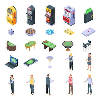 Croupier icons set