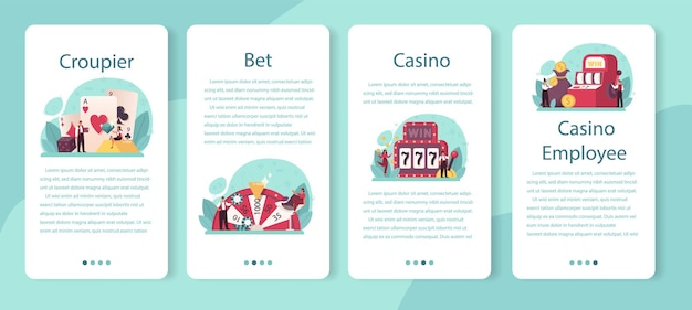 Croupier mobile application banner set. dealer in casino near roulette table. person in uniform behind gambling counter.