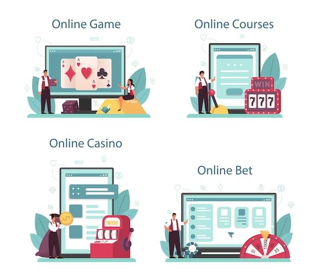 ディーラーオンラインサービスまたはプラットフォームセット。ルーレットテーブルの近くのカジノのディーラー。ギャンブルカウンターの後ろに制服を着た人。