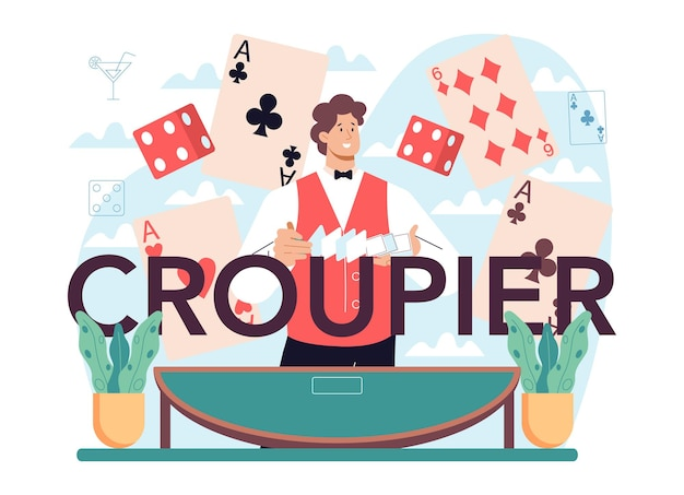 Croupier typographic header person in uniform behind a gambling counter