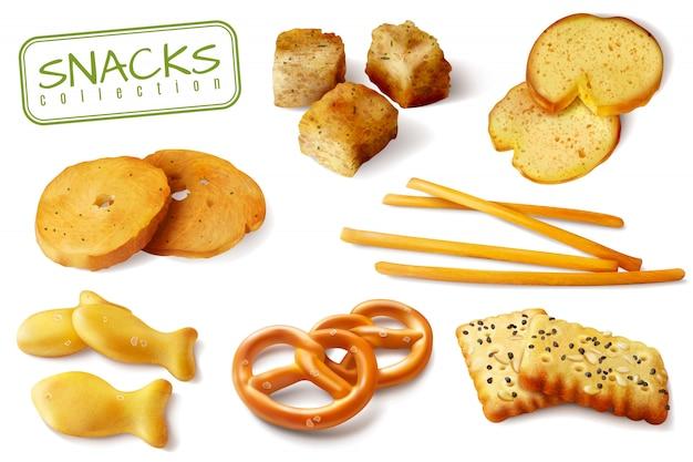 La raccolta del primo piano appetitoso degli spuntini al forno realistici croccanti dei biscotti delle ciambelline salate dei cracker dei crostini dei crostini isolata