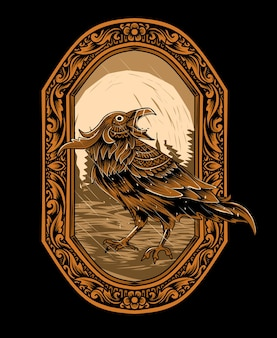彫刻飾り炎イラストのカラス鳥