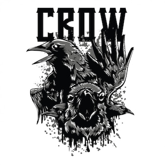 The crow black and white illustration