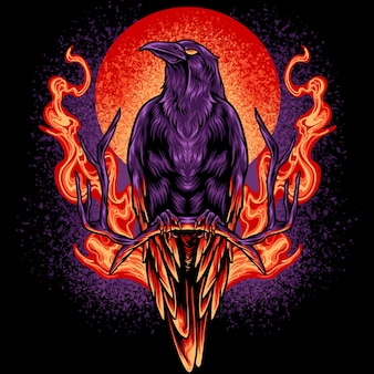 The crow on fire