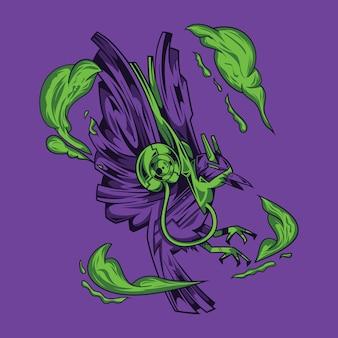 カラスの影のイラストとtシャツデザイン