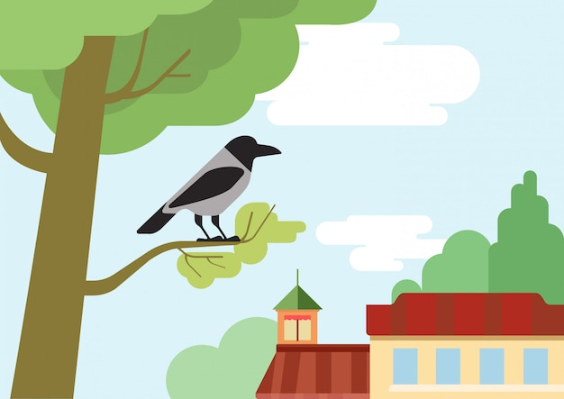 Corvo sugli uccelli animali selvatici del fumetto design piatto ramo di albero di strada.