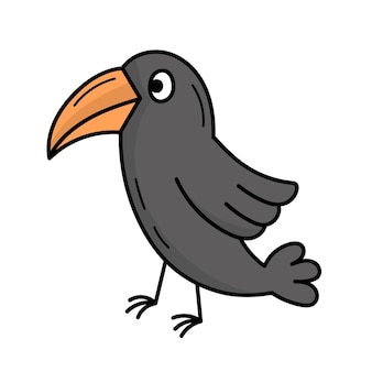 カラス、魔女の鳥。神秘的な。ハロウィーン。落書きスタイルのイラスト