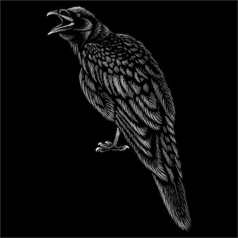 Crow with black background.