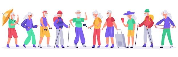Crowd of active senior elderly people