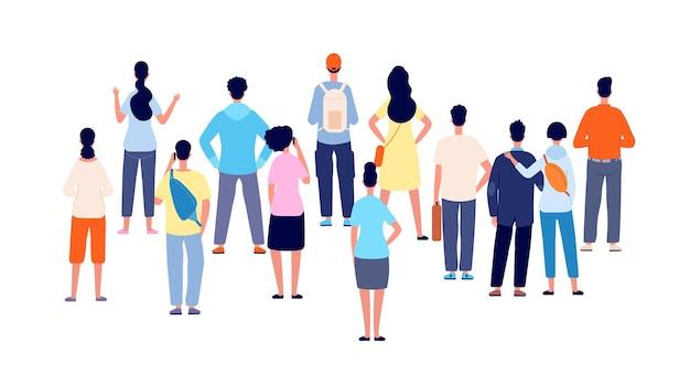 群衆の背面図。漫画の人、人々のグループは後ろに立っています。フラット公共の若い男性女性会議、オフィスビジネスの聴衆ベクトルの概念。イラスト群衆の人々の女性と男性が先を見ている