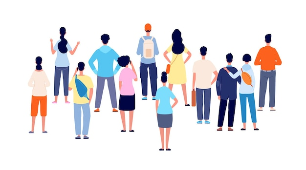 Crowd back view. cartoon persons, people group standing backs. flat public young man woman meeting, office business audience vector concept. illustration crowd people woman and man watching ahead