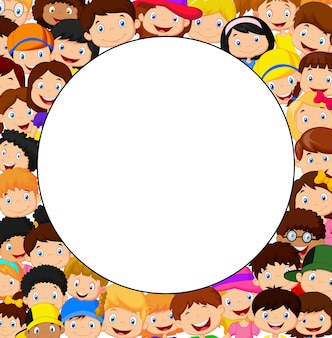 Crowd of children with blank space