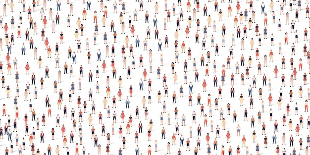 Crowd different people seamless pattern. large group of citizen in flat style with shadows