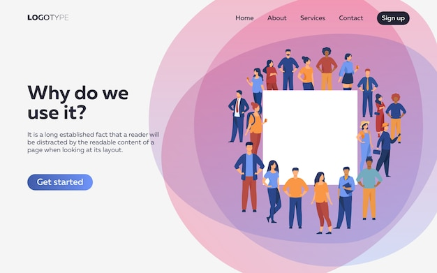 Crowd of diverse people standing together. landing page or web template